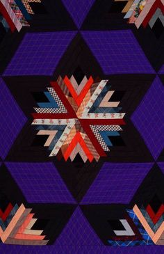Close-up, Log Cabin in six-pointed stars quilt, circa 1880s.  Wow. Stella Rubin Antiques.