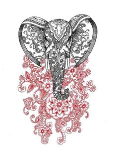 Drawing Art by alexandra Frances | via Facebook Mandalas and doodles for a floral elephant drawing