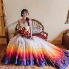 We're not surprised that the dip dye wedding dress trend is going strong - there are just so many ways a bride can get creative with it! We're loving bride and artist Taylor Ann Art's DIY wedding gown airbrushed in the prettiest of sunset colours! Dip Dye Wedding Dress, Rainbow Wedding Dress, Custom Wedding Dress, Wedding Dress Trends, Colored Wedding Dresses, Funny Wedding Dresses, Quirky Wedding Dress, Pretty Dresses, Beautiful Dresses