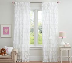 Tiered Ruffle Sheer Panel #pbkids The other sheers have patterns or dots which would conflict with the gold dots, so these are best from Pottery Barn. If we shop for other ready-made sheers, the color of the fabric may not be the same as the canopy-- this might be a better bet.