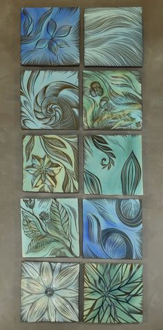 #Beautiful #blues ~ #Ceramic #Botanical #Design #Tiles for your #spa