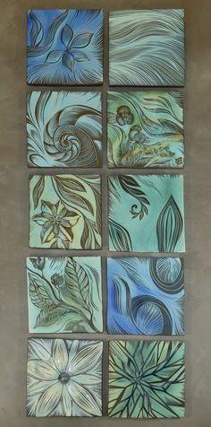 #Beautiful #blues ~ #Ceramic #Botanical #Design #Tiles for your #spa