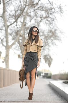 Draped :: Cropped trench & Draped dress