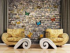 FT-1435 Butterflies on Bricks