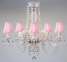 Pink Crystal Chandelier With Shades