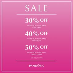 It's finally here! Head to Atlanta West Jewelry TODAY to receive up to 50% off some of your favorite #PANDORA styles.770.489.8600   *Discount valid only on select product SKUs, product selection may vary by store. While supplies last at participating retailers and online. Not valid with prior purchases and cannot be combined with any other offers. No substitutions.