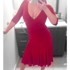 """HP BCBG Maxazria Dress ✅%Authentic✅ BCBG MaxAzria Flarred Burgundry Dress. size XS. Rayon/Spandex. Used only 1 time. Everything is in perfect condition except 1 little snag at the bottom of dress, that I fixed. It's not noticeable. Please refer to last pic to see snag. This has 3/4""""sleeves, cross fit bust, ruffled waist and keyhole back opening. Love this dress, so sad to let it go  lol. Measurements: Bust 32-34, Waist 24-26, Length 48"""" from back.  Host Pick Best in Dresses & Skirts Party •…"""