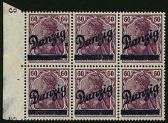 Danzig 60 Pfg. Big indoor service, 6-block from left margin of sheet, farbfrisch and very well serrated, with To different overprint mistakes. Besides, also Mi. No 47 I and 47 II, with Original rubber-coat and light{*easy*} imprisonment traces. A very decorative, in this form probably unique unity! photo-certificate Kniep BPP. Mi. 9600, - ++.  Dealer Gert Müller Auctions  Auction Minimum Bid: 3000.00EUR