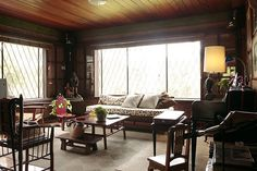 Vinya Alcantara, the mother of Casa San Pablo proprietor Boots Alcantara, welcomes us into her two-storey house Filipino Architecture, Red Accent Chair, Passive Solar Homes, Two Storey House, Solar House, Traditional House, Interior Design Inspiration, Cottage Style, House Tours
