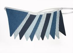 Merry-Go-Round Handmade: BOYS Denim Navy Blue, Stripes & Check Flag Bunting on Front page of MadeIt website today!