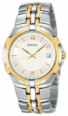 Seiko Men's SGEB58 Dress Two-Tone Watch Seiko. $124.00. Reliable Japanese-quartz movement. Strong Hardlex crystal protects dial from scratches. Two-tone stainless-steel case; white dial; date function. Water resistant up to 99 feet (30 M)