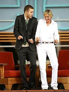 Justin Timberlake & Ellen Degeneres..I love these two..Together they were so cute and funny...