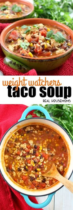 Looking for a delicious, low-point Weight Watchers soup recipe? This fantastic Weight Watchers Taco Soup is a fantastic option for a healthy, filling lunch or dinner! via @realhousemoms