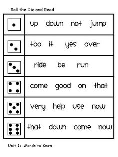 Classroom Freebies Too: Roll the Dice and Read High Frequency Words