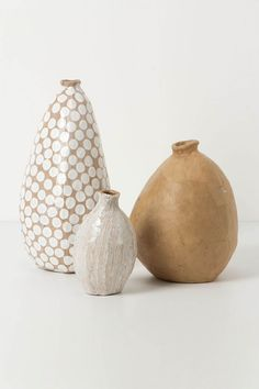 ✔ Love the forms, love the spots. Love everything about these pots! Apologies, maker unknown