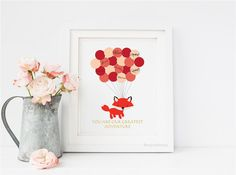 Fox First Birthday Guestbook, Baby Shower Guest Book, Red Baby Fox baby shower sign in - Digital Printable Print Personalize