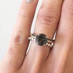 Three Stack featuring our Precious Tourmalinated Quartz ring and Annie black diamond band.