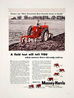 1955 Ad Massey-Harris Tractor Till Plow Racine Red Farming Implement YFQ1