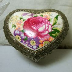 Heart Jewelry Box, Porcelain Rose Top Dresser Box, 1950s JAPAN, Footed Trinket Box, Silver Hinged Metal Box,,Red Lining,Art Deco Style. $22.00, via Etsy.