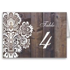 Rustic Wood Floral Wedding Table Number Cards