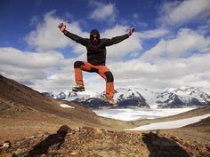 Jumping for joy at the John Gardner Pass #patagonia #chile #torresdelpaine #trekking #people #jump