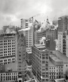 "Circa 1901. ""Cluster of skyscrapers, New York, New York."""