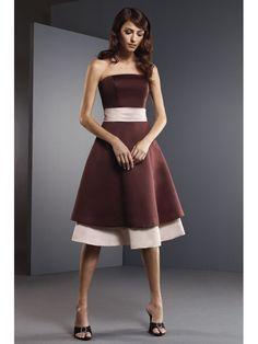 Satin Strapless Tea Length A-line Bridesmaid Dress With Pleated Band Around The Waistline