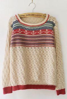 Apricot Long Sleeve Tribal Print Hollow Sweater