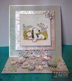 Die'sire Fancy Edge'ables - Floral Dance - Die'sire Classiques Spring/Summer Dies - Wildflower Trio - Die'sire Essentials Flowers For all Occasions 4 - Make a Wish embossing folders - Centura Pearl card - Barkley stamp and Spectrum Noir markers - gems and sequins - Collall Glue Gel and Collall Tacky Glue - #crafterscompanion
