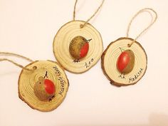 Pebble Robins Pebble Tree Decorations Robin by CalicoandCotton Personalised Tree Decorations, Christmas Tree Decorations, Christmas Crafts, Christmas Ornaments, Christmas Ideas, Pine Cone Tree, Pine Cones, Rustic Christmas, Vintage Christmas