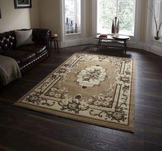 Klassischer Teppich Wohnzimmer Schlafzimmer Marrakesh Beige A100234