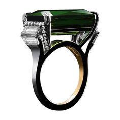 Green Tourmaline & Diamond Ring  - 1stdibs.com
