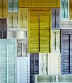 I spotted this DIY project on Country Living for creating a wall of shutters and was struck by the palette. A unique gradient of weathered colour including dashes of dusty grey and soft tints of acid yellow and robin's egg blue. Ah, how colour and ...