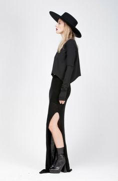 AUGUR BAMBOO MAXI SKIRT by Morph Knitwear at Sisters of the Black Moon