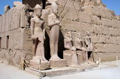 Statues outside of Karnak temple complex Egypt