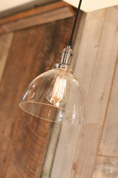 Pendant Light With Rounded Clear Glass Shade and Exposed Socket Design. Find it here - https://www.etsy.com/listing/172869191/pendant-light-with-rounded-clear-glass?ref=listing-shop-header-1 - $180.00