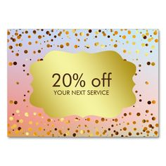 Confetti Gold Coupon Card Voucher Discount Gift Large Business Cards (Pack Of 100). Make your own business card with this great design. All you need is to add your info to this template. Click the image to try it out!