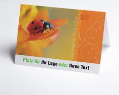 #Logokarte Glückwünsche Marienkäfer auf Blume