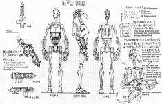 Duel of the Droids Concept Art Gallery Star Wars Fan Art, Droides Star Wars, Star Wars Battle Droids, Star Wars Zeichnungen, Character Turnaround, Body Drawing Tutorial, Character Model Sheet, Character Design, Concept Art Gallery