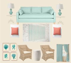 """""""New Aqua and Coral Living Room"""" by kekilian on Polyvore"""