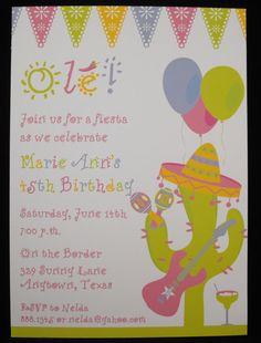 Girly Fiesta Mexican Themed Party Invitations