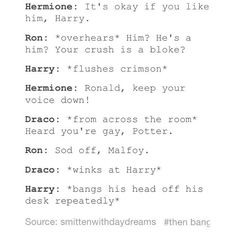 Funny things to think about harry potter ideas for 2019 Harry Potter Comics, Harry Potter Puns, Harry Potter Draco Malfoy, Harry Potter Ships, Harry Potter Cast, Harry Potter Universal, Harry Potter World, Drarry, Hogwarts