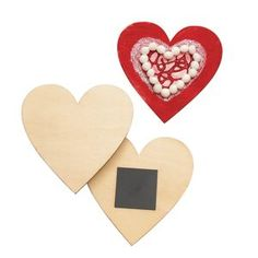 Colorations® Decorate Your Own Wood Magnetic Hearts, Set of 12 Arts And Crafts Kits, Craft Kits, Discount School Supply, Unique Gifts, Great Gifts, Home Activities, Grandparents Day, Paint Stain, Wooden Hearts