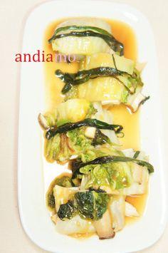 『白菜とエリンギのミルフィーユ仕立て台湾風』冬の旬の白菜を鍋でも漬物でもない歯ごたえのエリンギと香りの五香紛を使って食べ飽きない味.