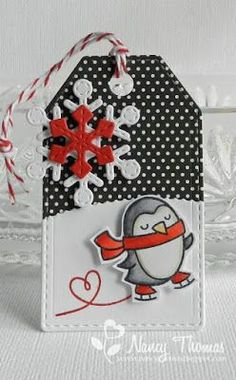 """For tag I stamped and cut the penguin from the Winter Penguin mini stamp set and matching Winter Penguin Lawn Cuts. I stamped the heart swirl directly onto the """"snow"""" and attached the image with foam tape. Christmas Card Crafts, Xmas Cards, Handmade Gift Tags, Christmas Tags Handmade, Decorated Gift Bags, Winter Cards, Copics, Card Tags, Modern Gardens"""