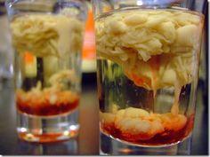 zombie brain shots ...     1 oz peach schnapps *      1 tsp Baileys *      1/2 tsp grenadine