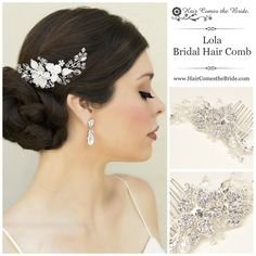 Rhinestone and Crystal Flower Bridal Hair Comb by Hair Comes the Bride