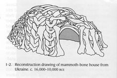 Reconstruction of a mammoth-bone house from Ukraine, 16,000-10,000 BCE. 30 bone hut sites out of Mammoth bone made by prehistoric humans during the Paleolithic period has been found (as deep as 22.5 m deep) in Czech Republic, Poland and Ukraine in Europe. The huts and houses were Circular or oval huts and as much as 15 to 20 feet in diameter.