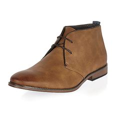 Brown lace-up chukka boots