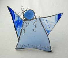 Blue Stained Glass Angel Ornament  by trilobiteglassworks on Etsy, $20.00